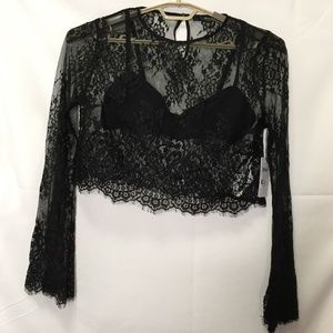 Guess See Through Long Sleeve Crop Top Size XL L41
